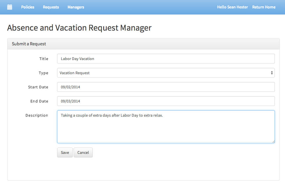 Absence Request Form Absence/vacation Requests