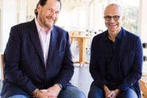 Salesforce CEO Marc Benioff tweeted out this photo of the two with the news. (Credit: Anna Kuperberg)